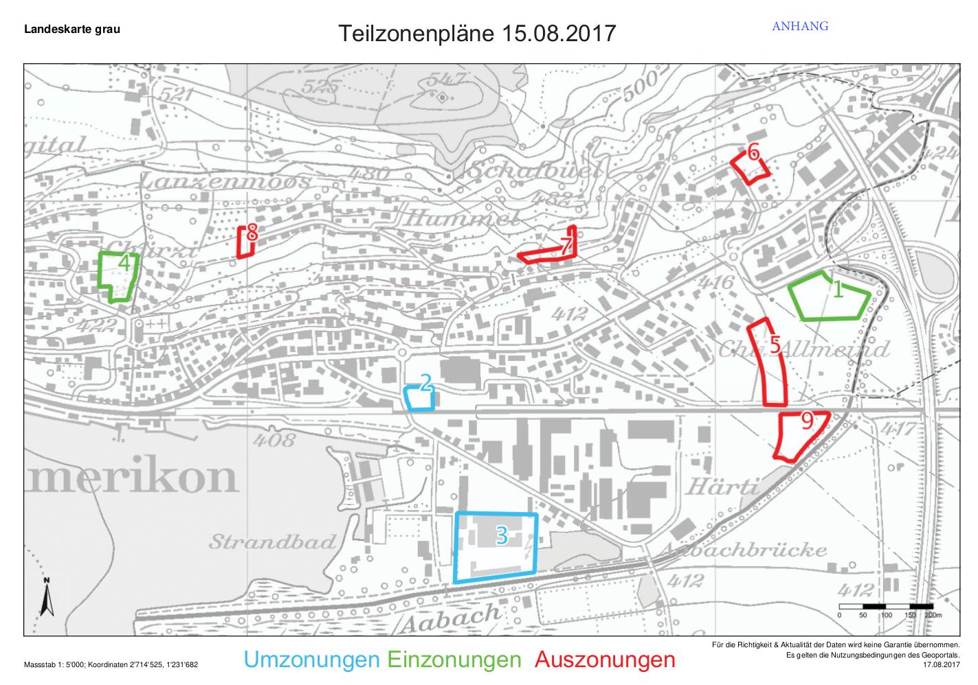 Teilzonenpläne 15.08.2017