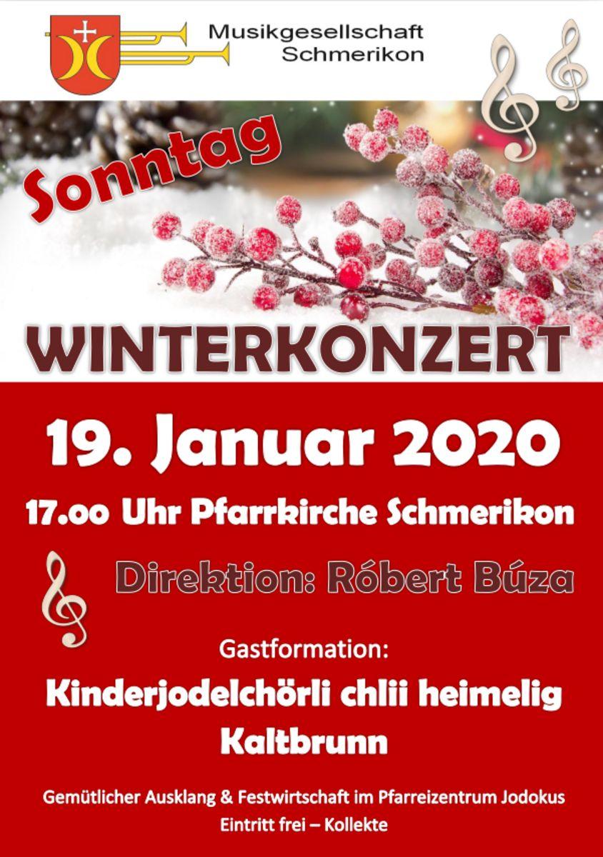 Flyer Winterkonzert Musikgesellschaft Schmerikon vom 19.01.2020