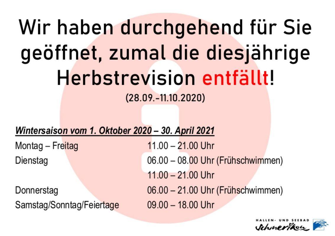 Hallenbad Schmerikon: Öffnungszeiten Wintersaison 2020/2021
