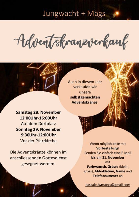 Flyer Adventskranzverkauf Jungwacht & Mägs Schmerikon vom 28. und 29.11.2020