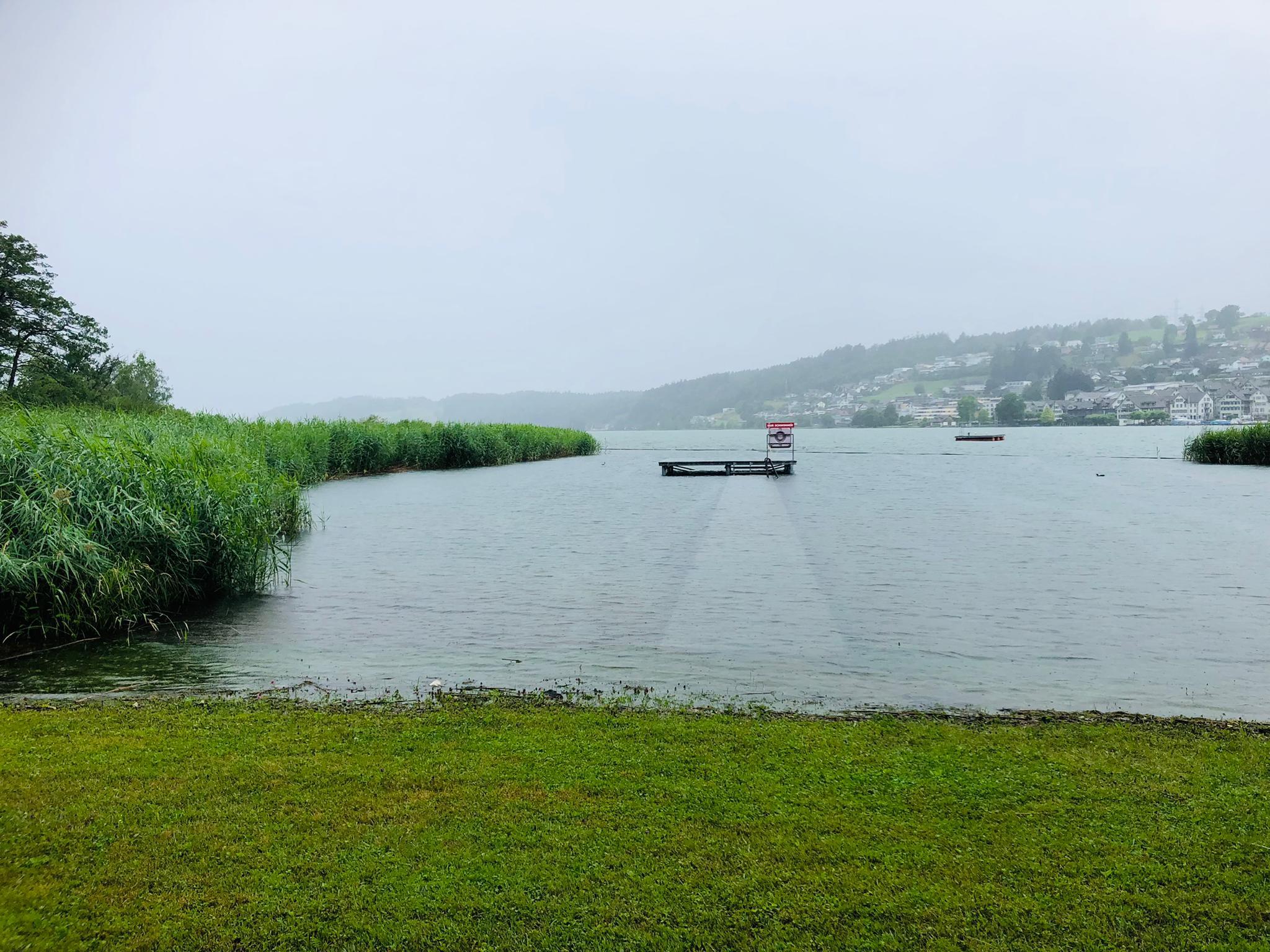 Hochwasser am 13.07.2021. Seezugang in der Badi Schmerikon (Foto: Fränzi Ruh)