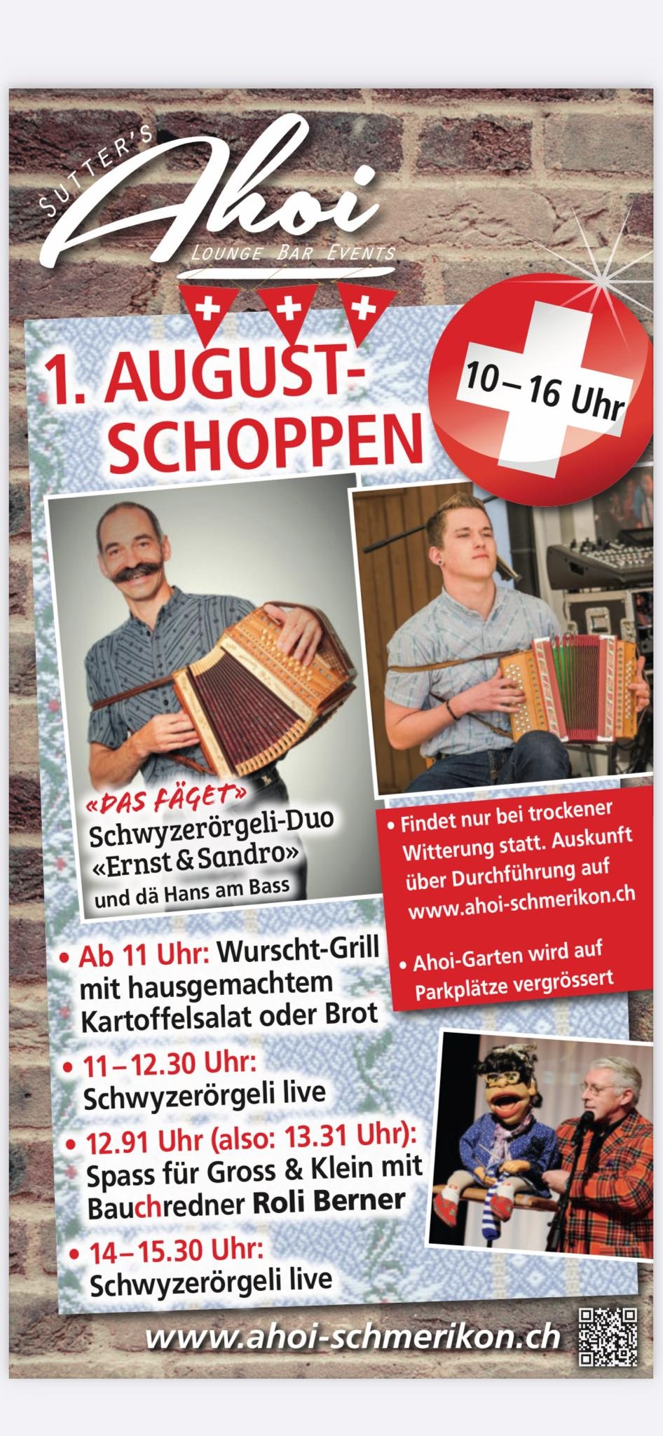 Flyer zum 1. August Schoppen vom 1. August 2021 im Ahoi Schmerikon