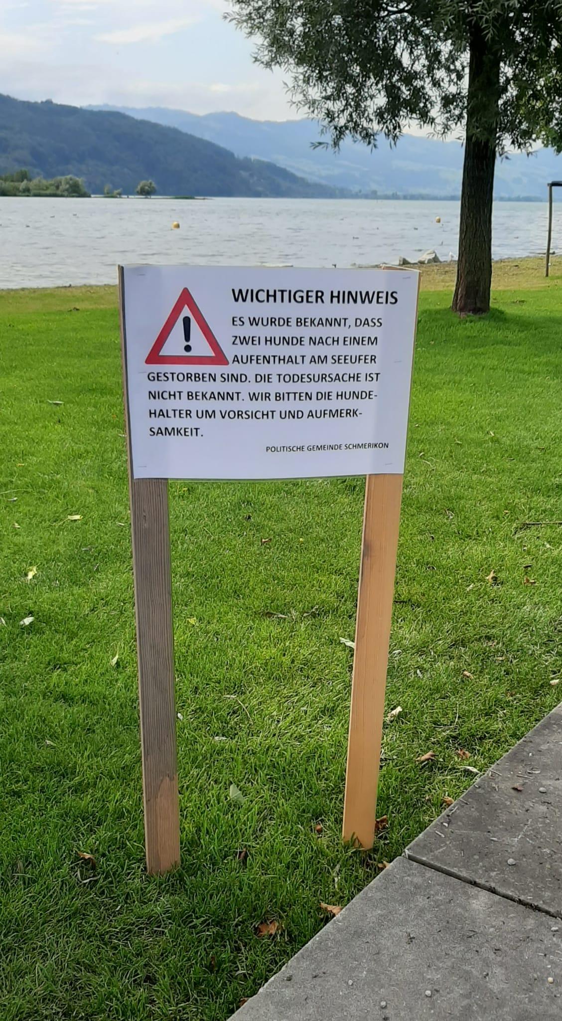 Hinweisschild der Gemeinde in der Seeanlage Schmerikon am 26.07.2021 (Foto: Renate Ammann)