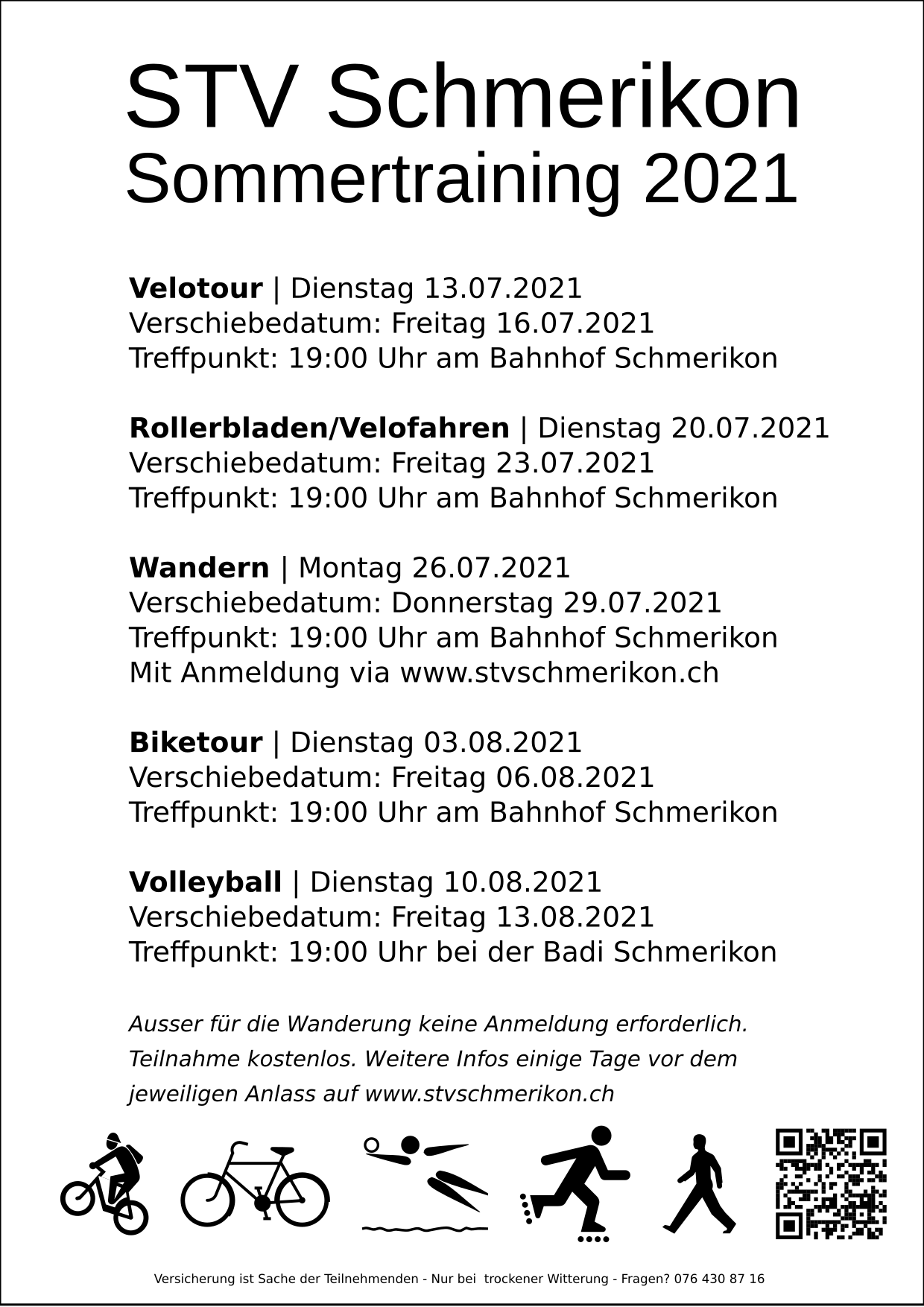 Flyer mit Daten der STV Schmerikon Sommertrainings 2021