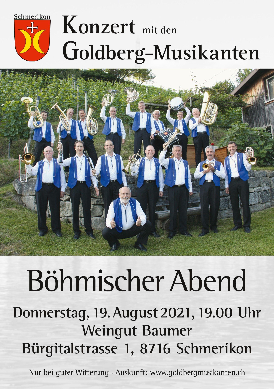 Plakat Goldbermusikanten , Donnerstag 19.08.2021 19:00 Uhr, Weingut Baumer, Bürgitalstrasse 1, 8716 Schmerikon