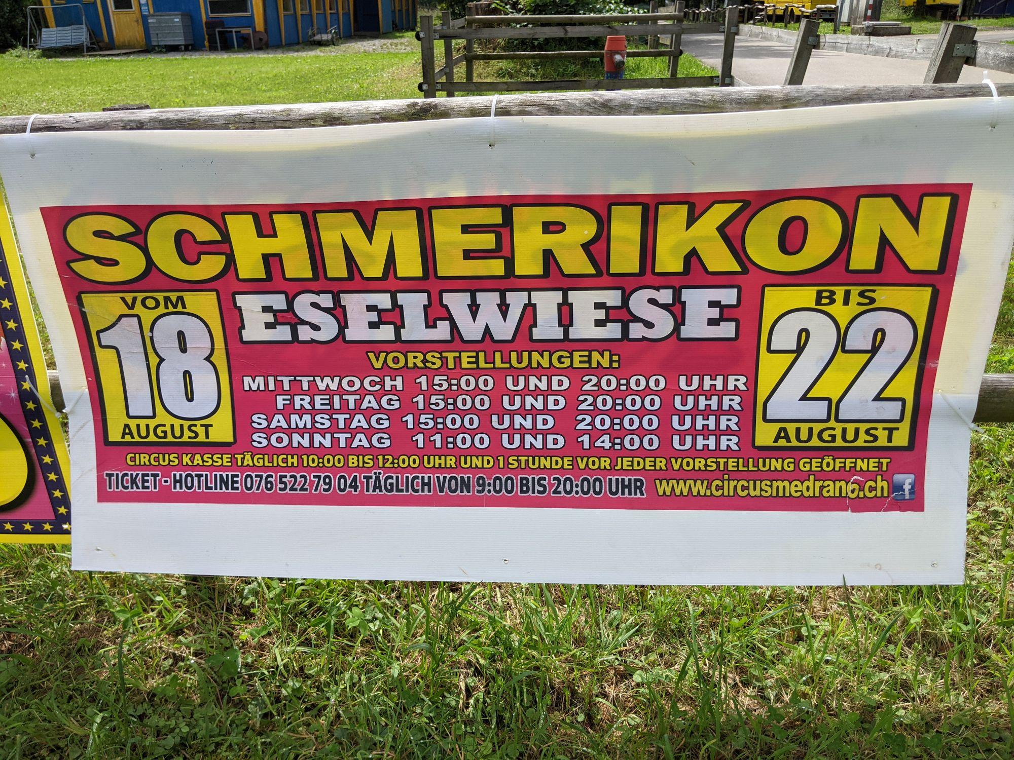 Vorstellungen vom Circus Medrano in Schmerikon im August 2021 (Foto: Thomas Müller, 8716.ch)