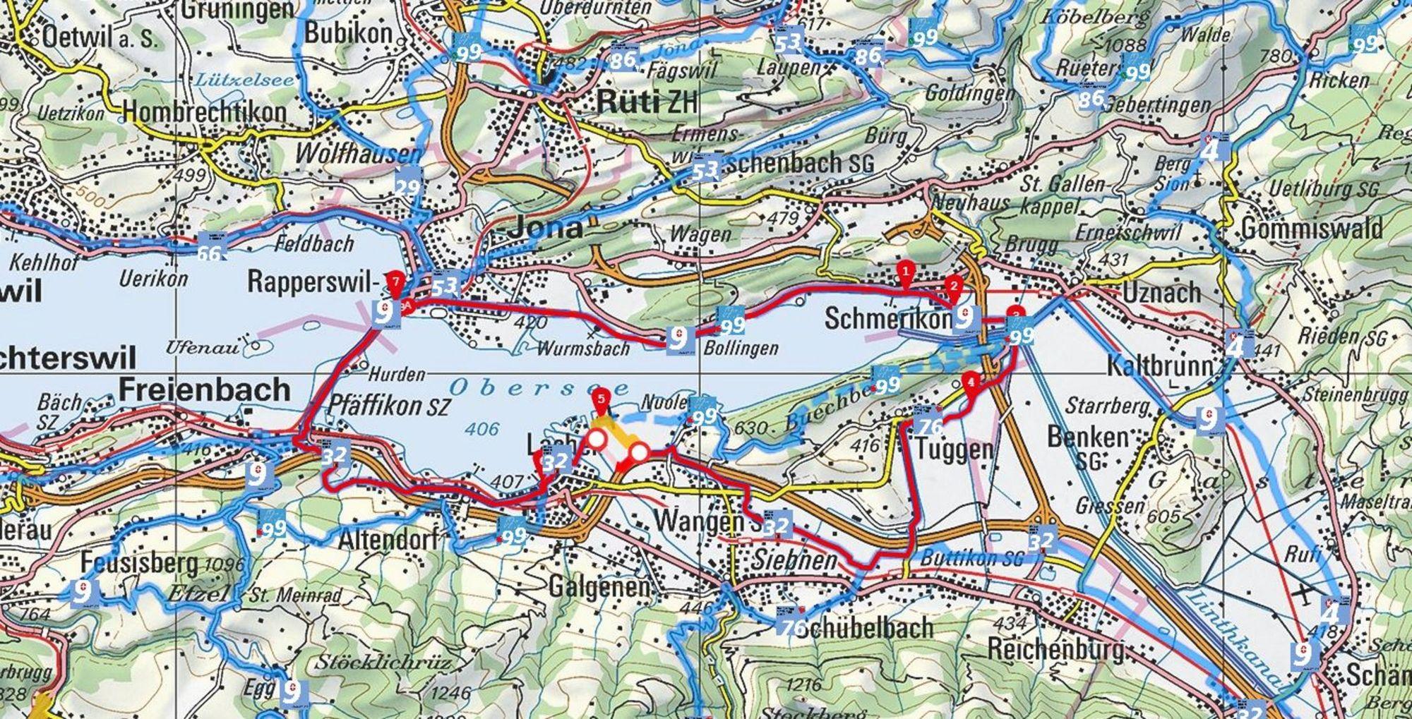 Karte vom slowUp yourself! Zürichsee 2021 (Quelle: slowUp Zürichsee)