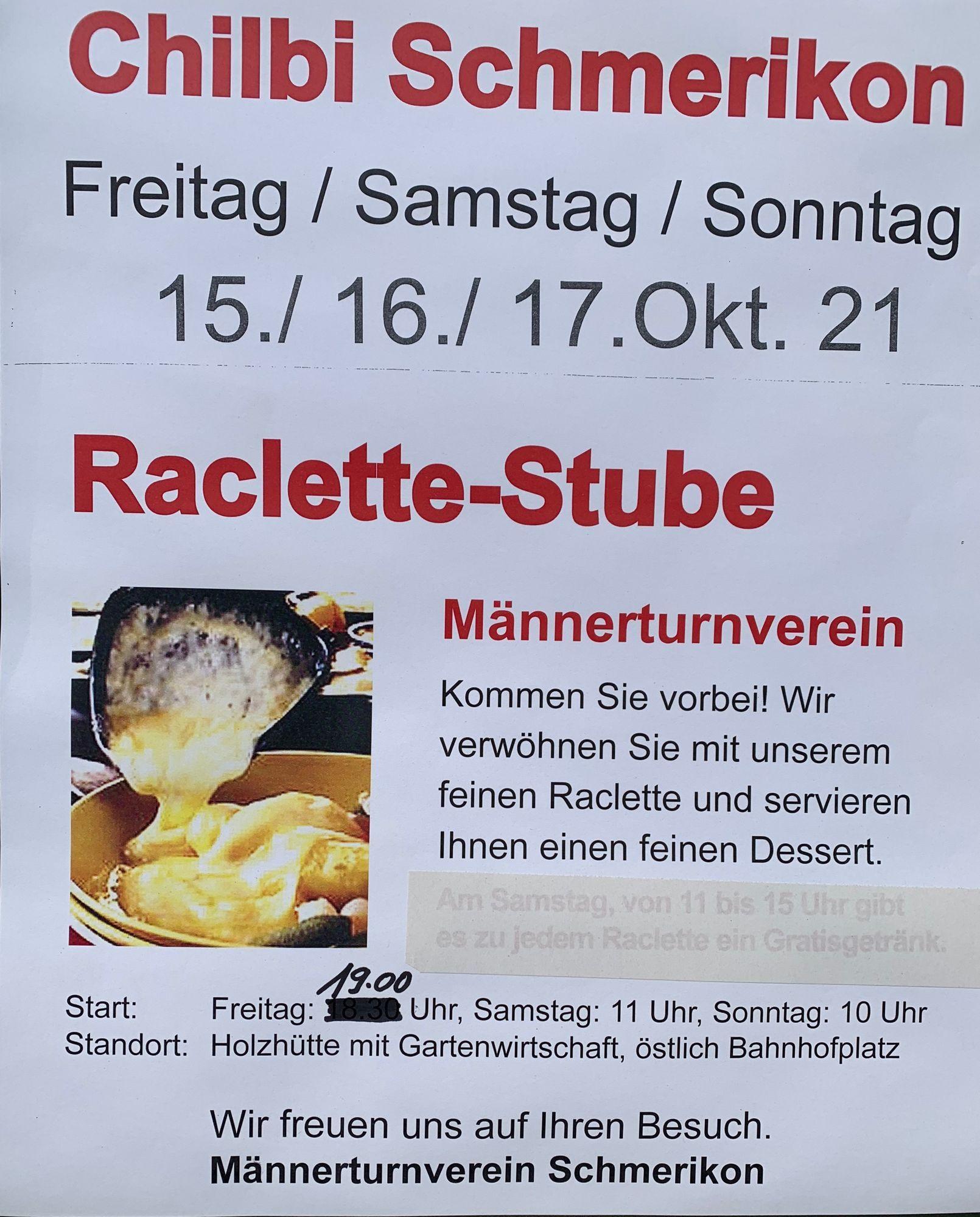 Flyer Raclette-Stube vom Männerturnverein an der Schmerkner Chilbi 2021