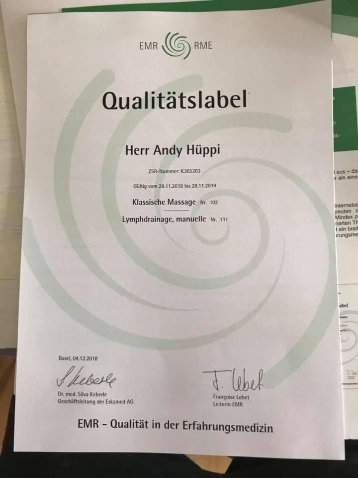 Andy Hüppi jetzt mit EMR Zertifikat